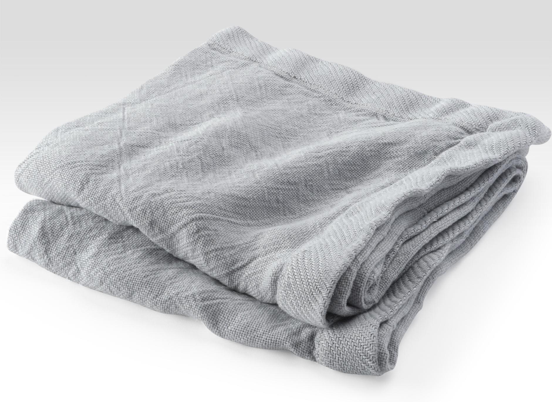 Grey Linen Flat Weave Throw