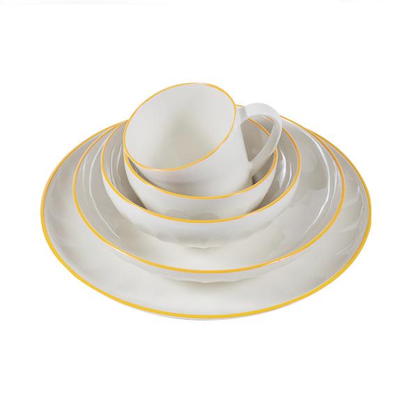 Yellow Rim Melamine Dishes