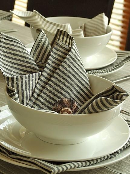 Neutral Striped Linen Napkin