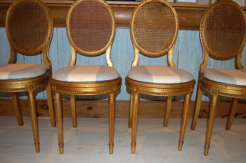 Vintage Gold Cane Back Chair