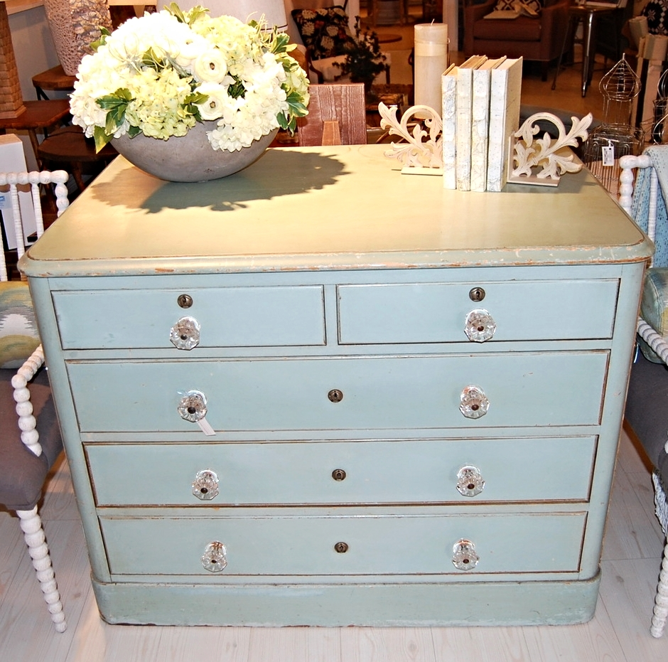 Vintage Aqua Dresser w/ Glass Knobs