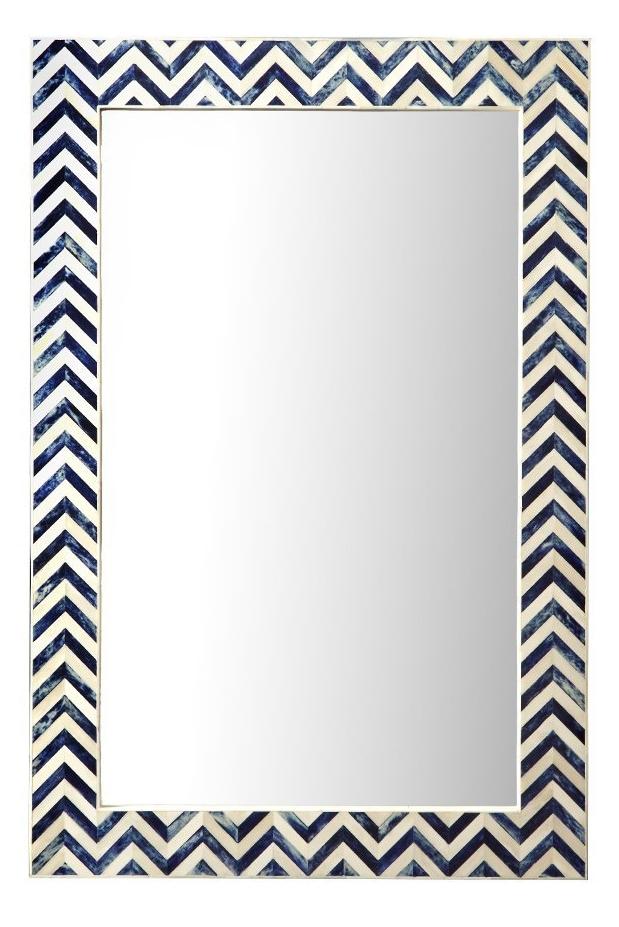 Chevron Blue & White Mirror