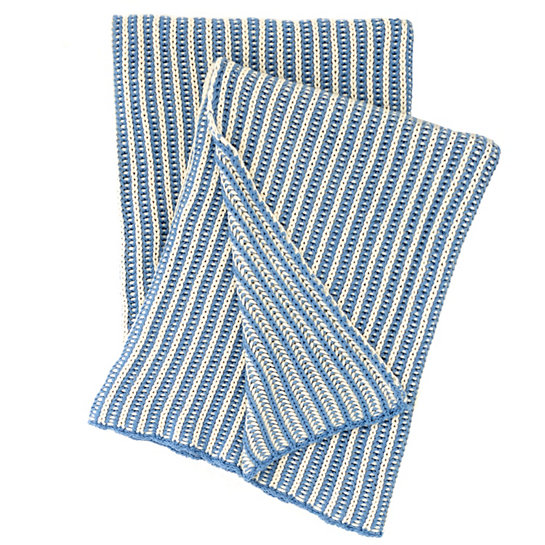 French Blue Knit Throw