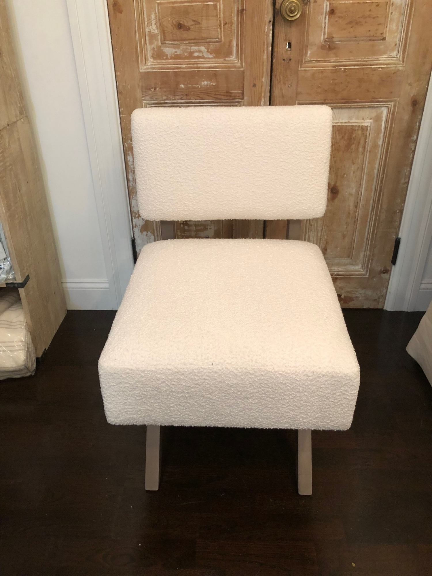 Trish Custom Slipper Chair with Off White Fabric