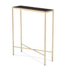 Brass Base Console with Glass Top