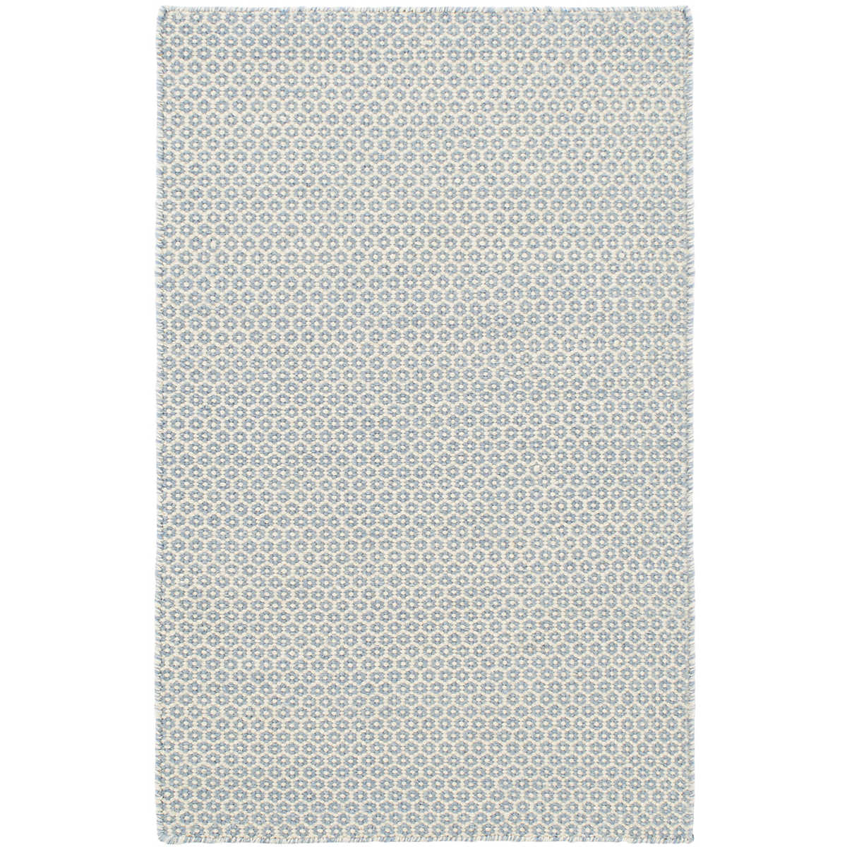 Honeycomb French Blue /Ivory Wool Rug