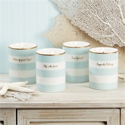 Aqua and White Striped Ocean Scented Candle