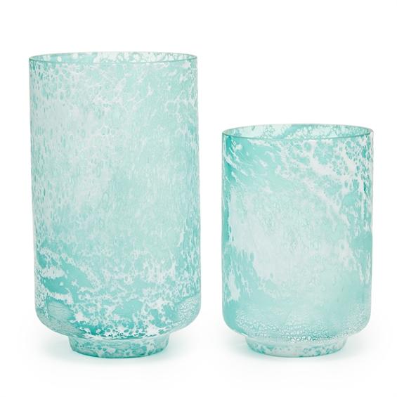 Aqua Seafoam Textured Vases