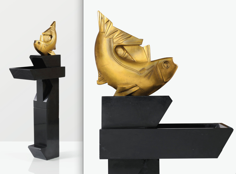 Joseph Csaky, Fontaine Poisson, Gilt Bronze, 1928