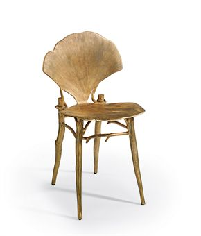 Ginkgo: A patinated bronze side chair designed by Claude Lalanne, 1996