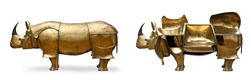 One of my favorite is this 1964, rhinoceros-shaped bar created by Francois Xavier Lalanne