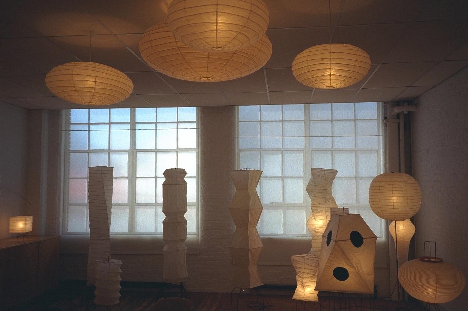 Noguchi's Akari Light Sculptures in the upper level of the Noguchi Museum