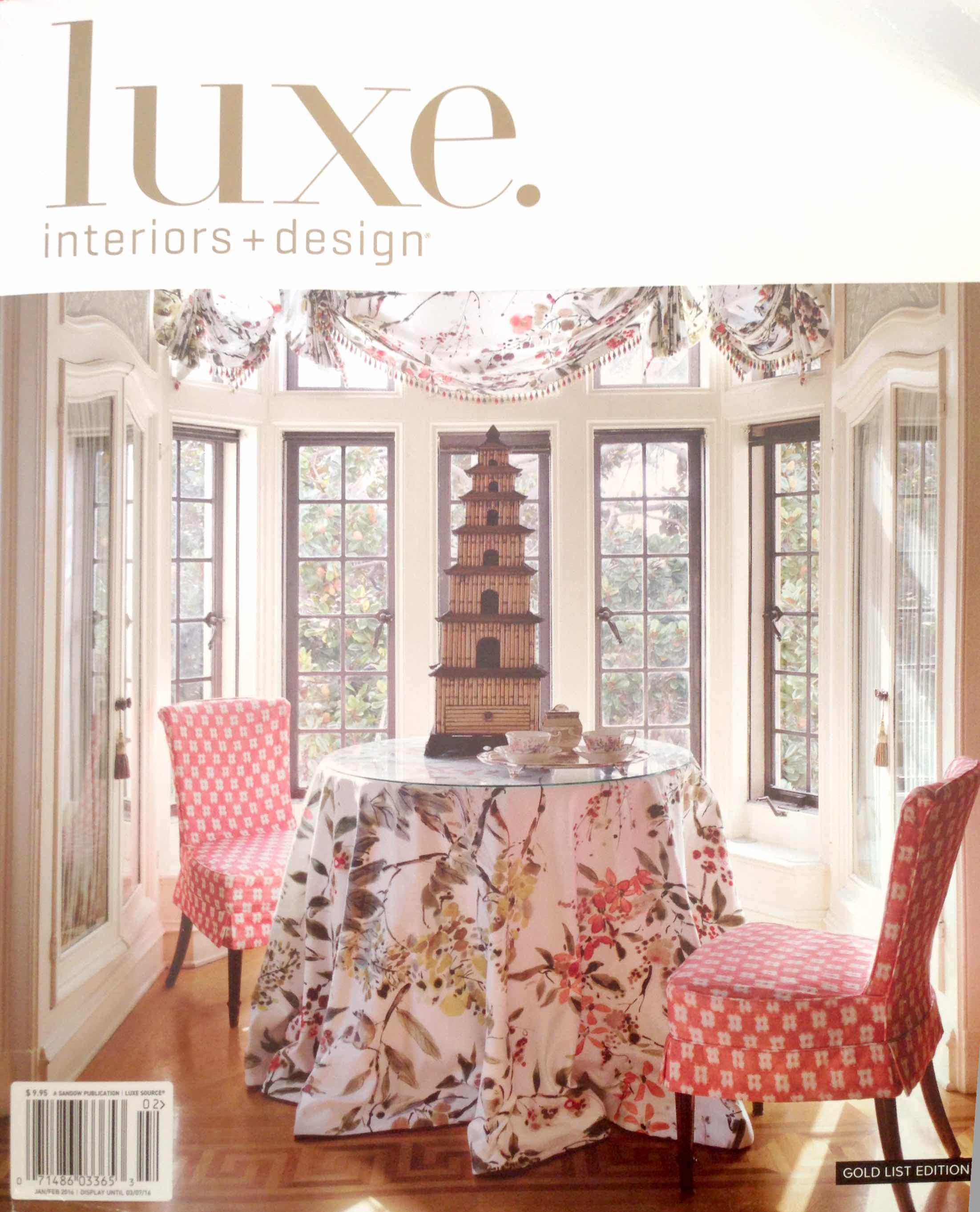 LUXE Interiors + Design, January, 2016
