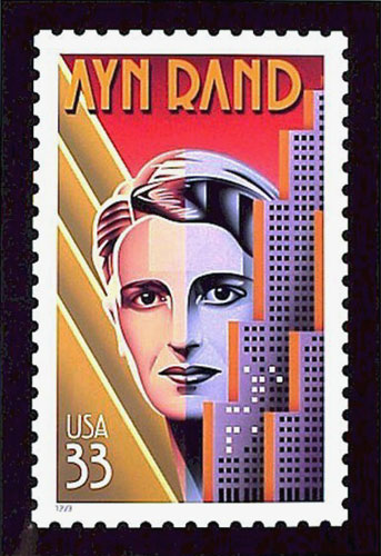 Ayn Rand Postage Stamp. Artwork by Nick Gaetano. Available at  Quent Cordair Fine Art