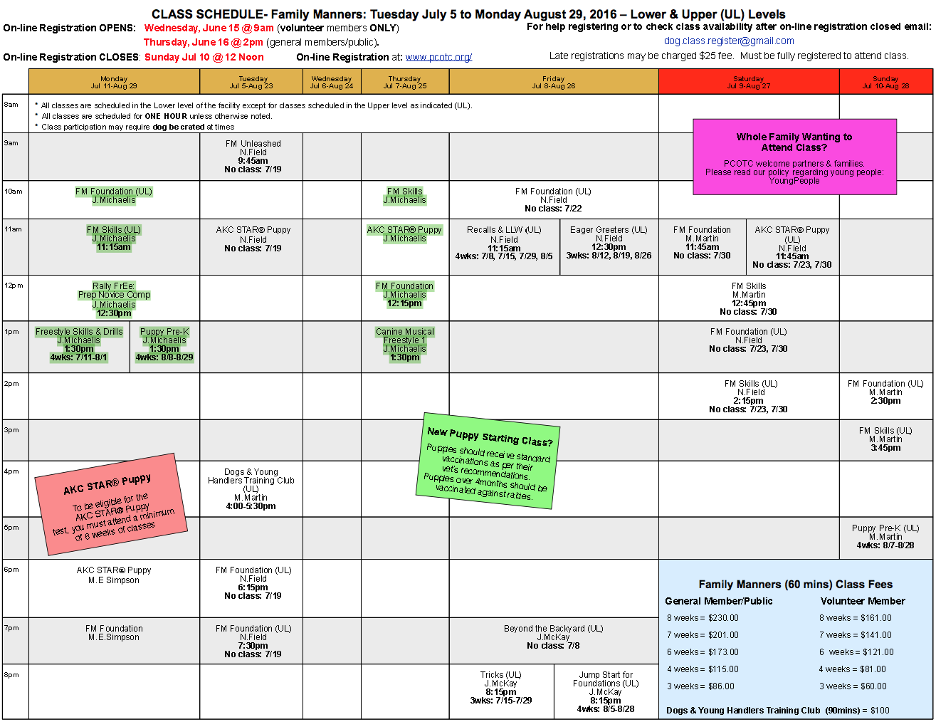 Jenn Michaelis' classes run Monday and Thursday 10-2:30pm. Highlighted in green.