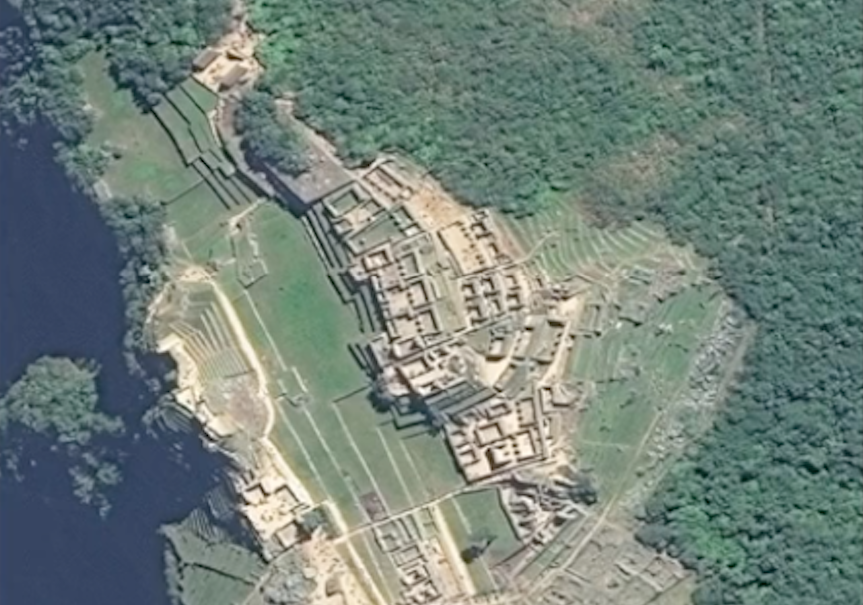 Satellite image of archeological site in Peru from GlobalXplorer