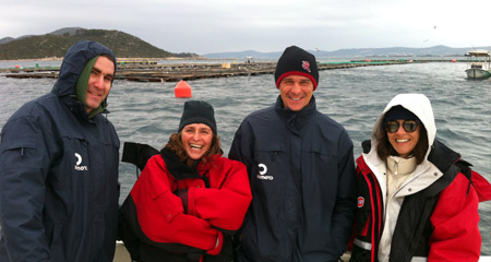 Frane Soric, Claudia Kruschel, Ivan Tot and Anamarija Frankic at the mariculture site, Island Ugljan near Zadar.