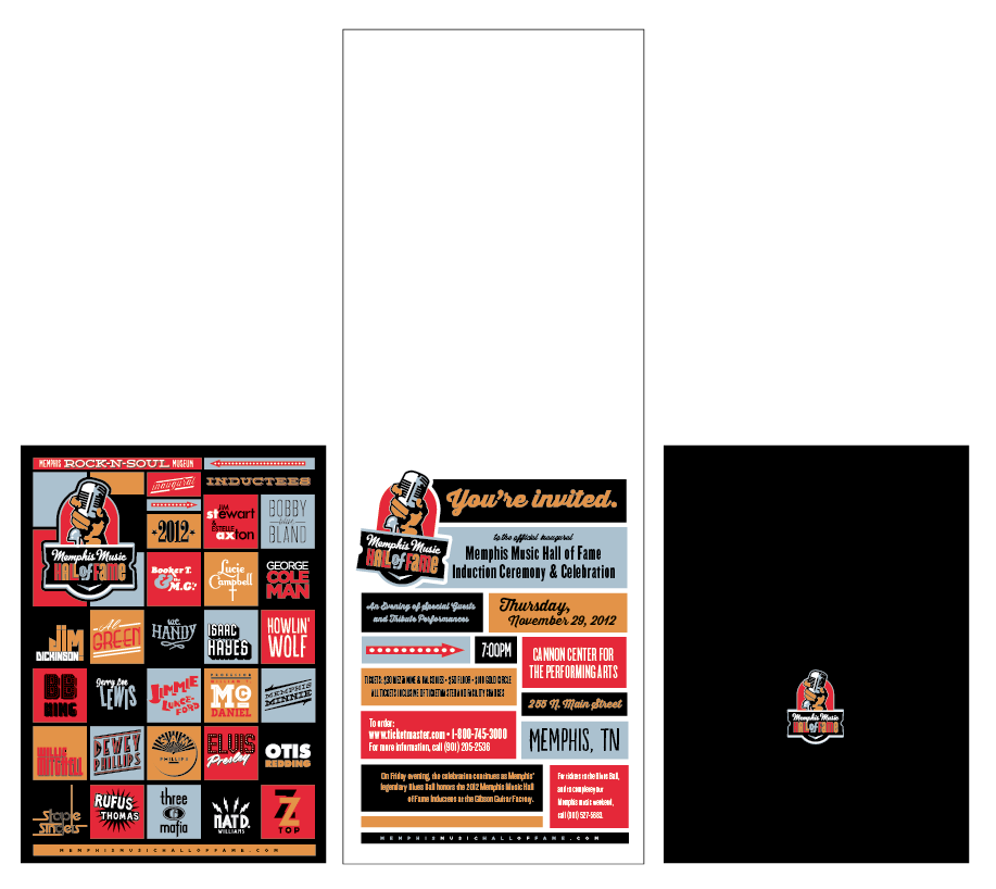 Final layout for the induction ceremony invitations. (front, inside open, back)