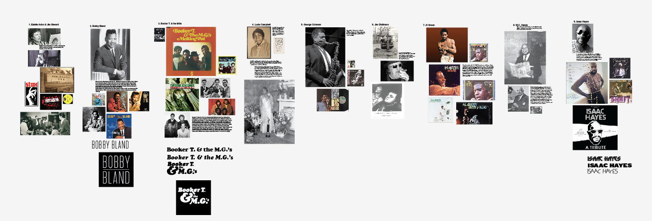 A screenshot of some of the early visual research that went into designing type treatments for each of the 25 inductees.