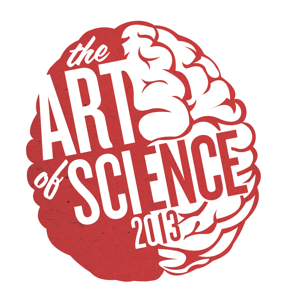 the logo for Art of Science 2013 is updated from 2012 with more sophisticated typography and a more playful shade of red—a change from the elegant but mature shade of maroon from 2012.