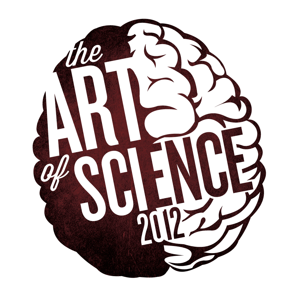 The 2012 Art of Science logo was a more refined and deliberate iteration of the original 2011 logo. The bright stencil red from 2011 was updated to a classier and more serious maroon on a gritty concrete texture, visually implying the maturation between years one and two of the project.