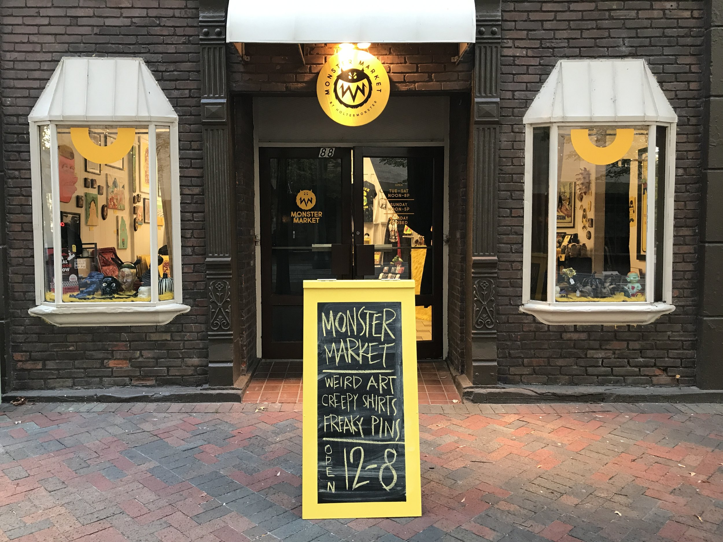 88 N. Main — the site of the first Monster Market pop-up during October 2017, and one of many chalkboard designs from the month