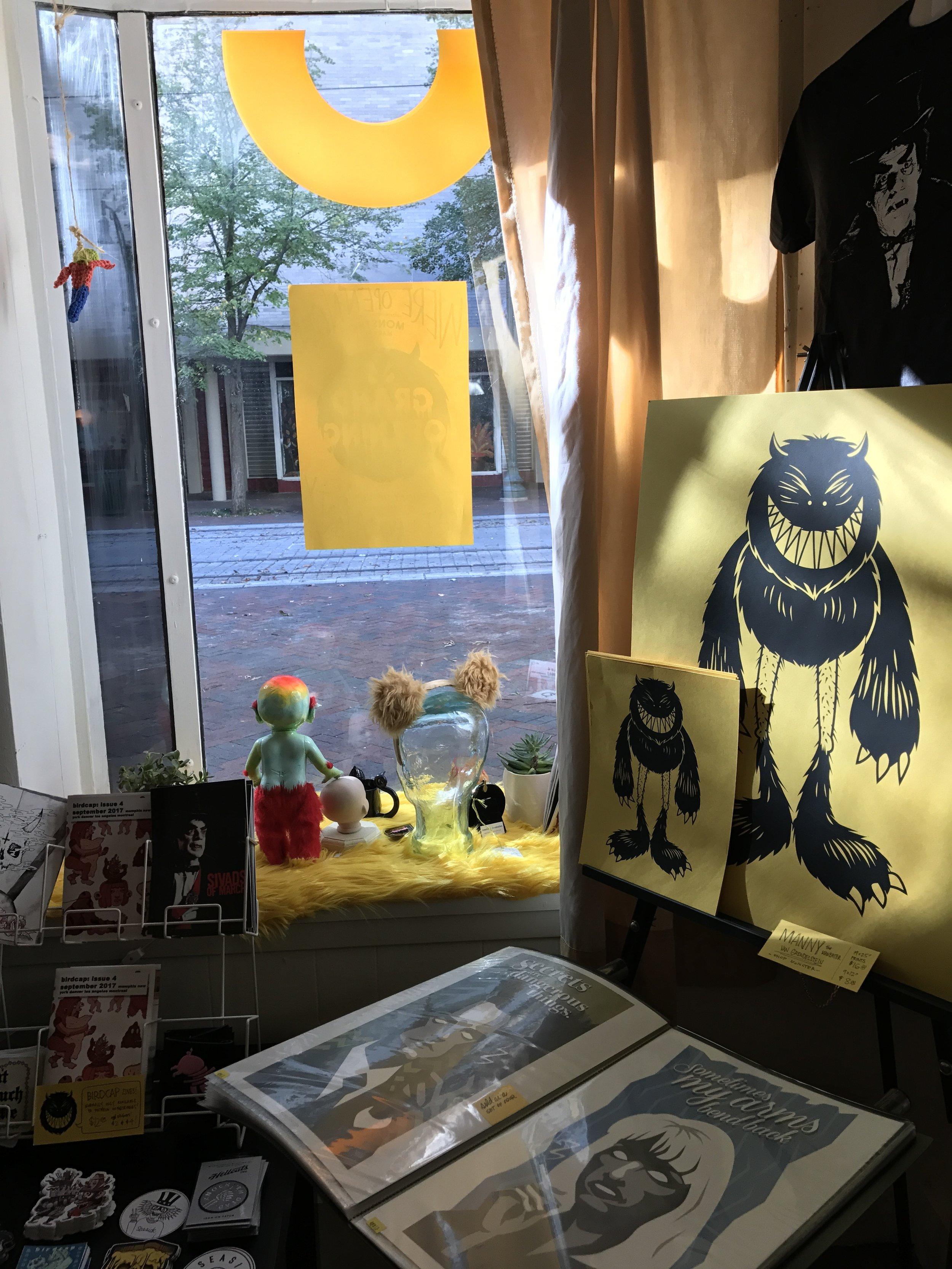 Inside 88 N. Main — a peek at the poster and zine corner