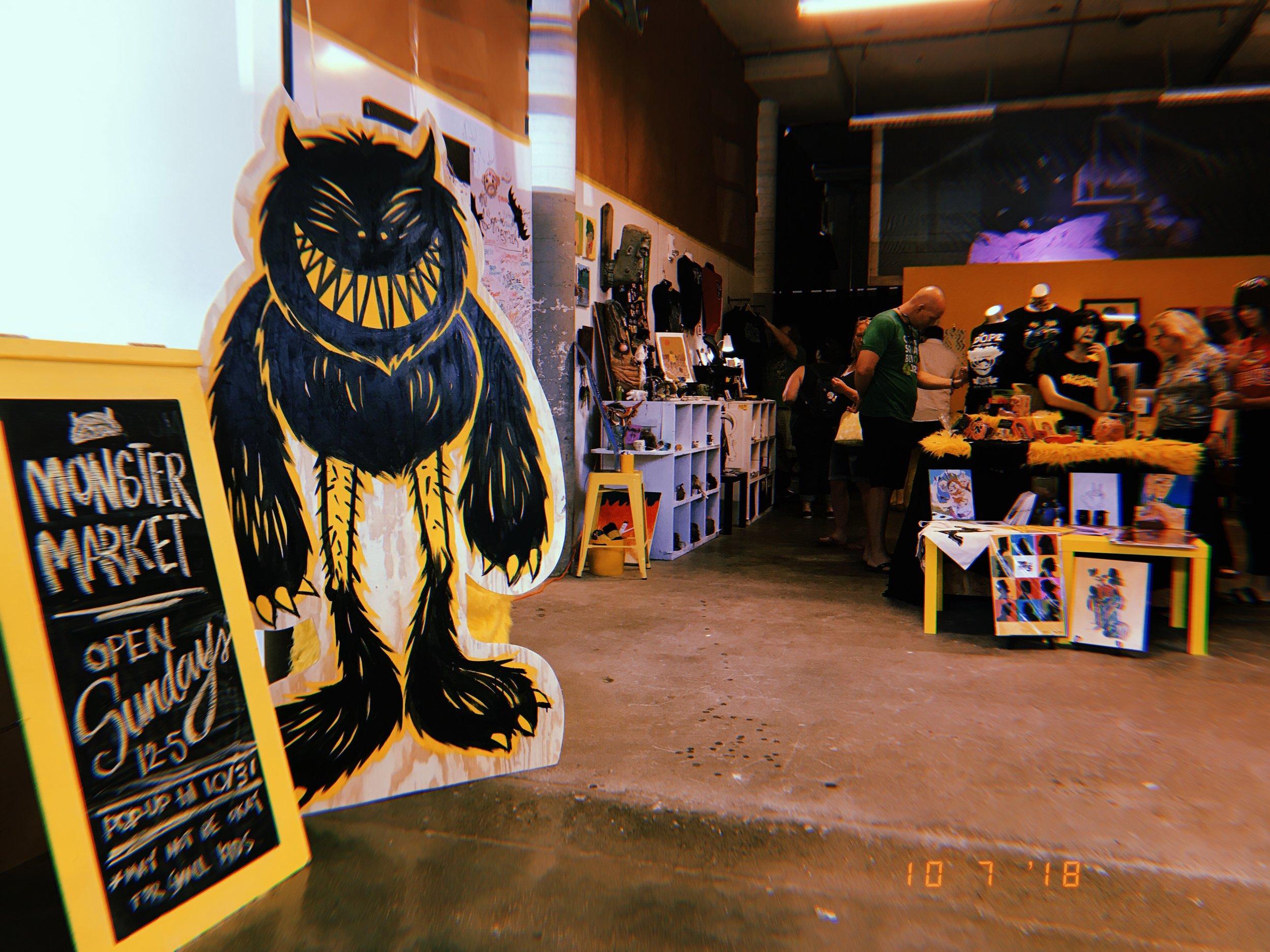 Resident Monster — Manny vanGrendelstein guards the shop each October