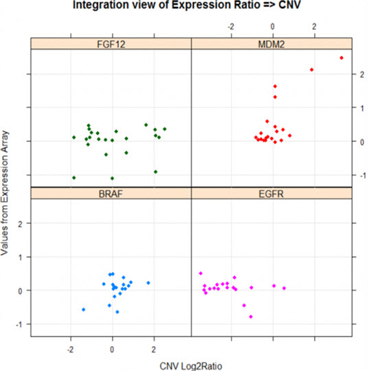 An example to draw scatter plot of gene expression vs. CN log2ratios for genes MDM, BRAF, EGFR, and FGF12