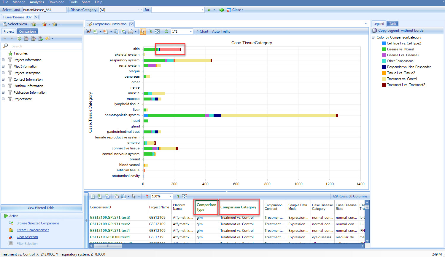 Comparison Distribution View. Comparison Details and Project Details are available once the users select a group of samples. For examples, Comparison Details include information on comparison test method and comparison category as highlighted in the figure.