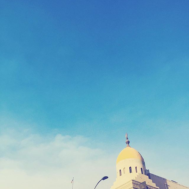 #blue #sky #white ☁️ #clouds ☀️#sun ☀️#architecture #yellow #dome #building #fall #falltime #lookup 💫