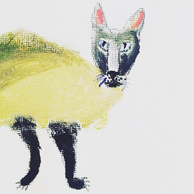 """""""Cat"""" by 11yr old boy  #yellow #cat #animallover #creature #painting #kid #boy #talent #artist #instaart #instagood #handmade"""