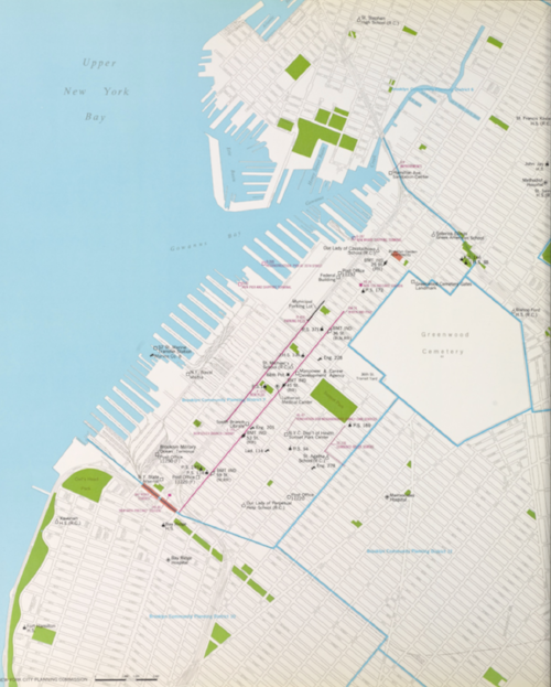 New York City Community Board 7's Map of Sunset Park from 1969 showing the same original boundaries of the Sunset Park.