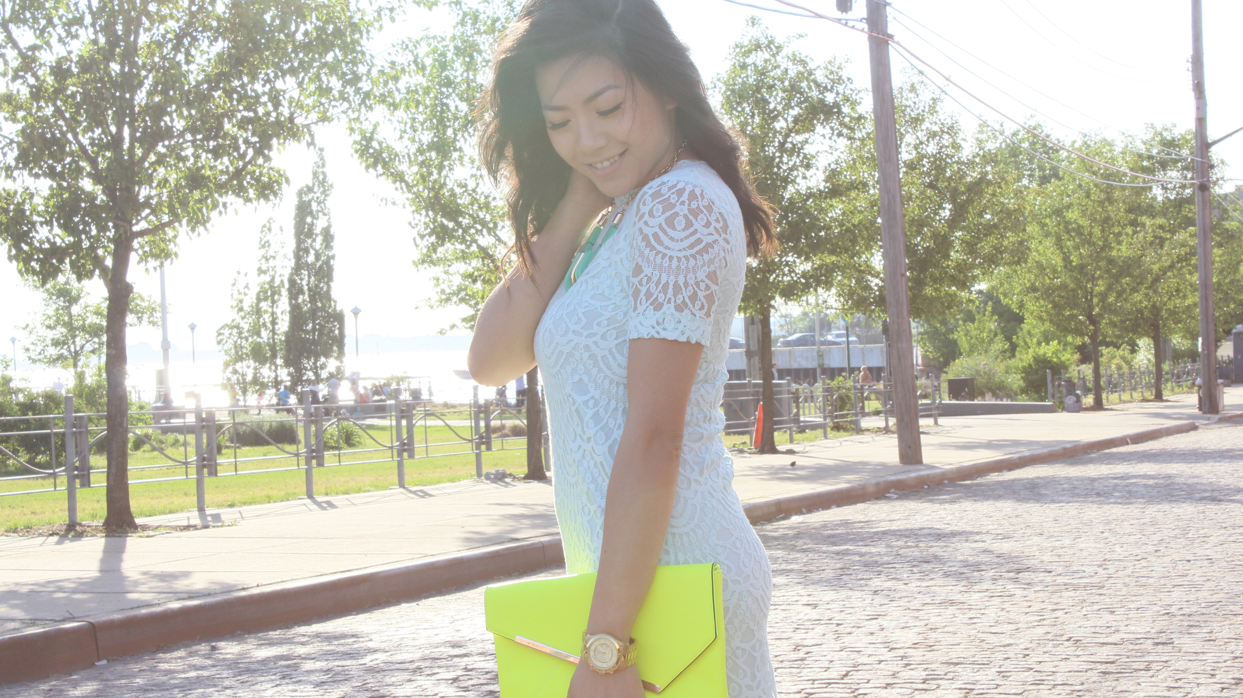 Dress – H&M    Ankle cuff heels- ShoeDazzle     Neon Yellow Clutch-  LeTote