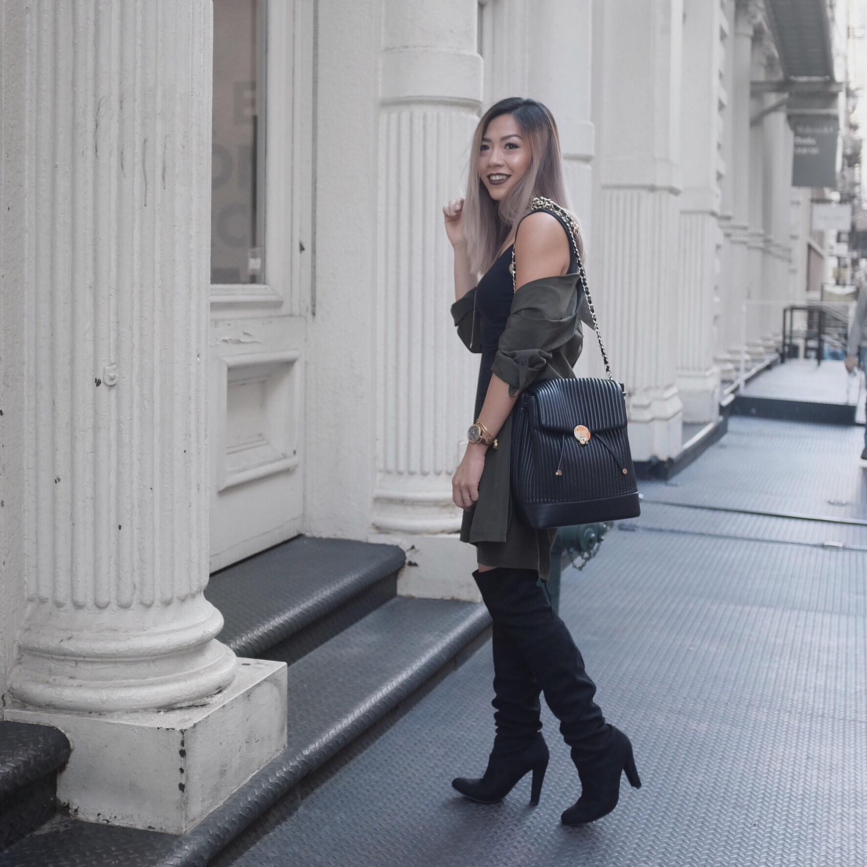 duster coat, over the knee steve madden boot, henri bendel No. 7 Convertible Backpack - Black