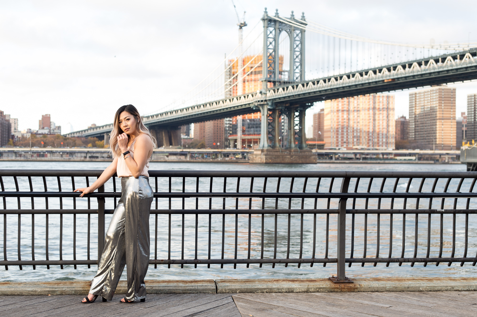metallic flare pants, silk blouse, dumbo, brooklyn bridge