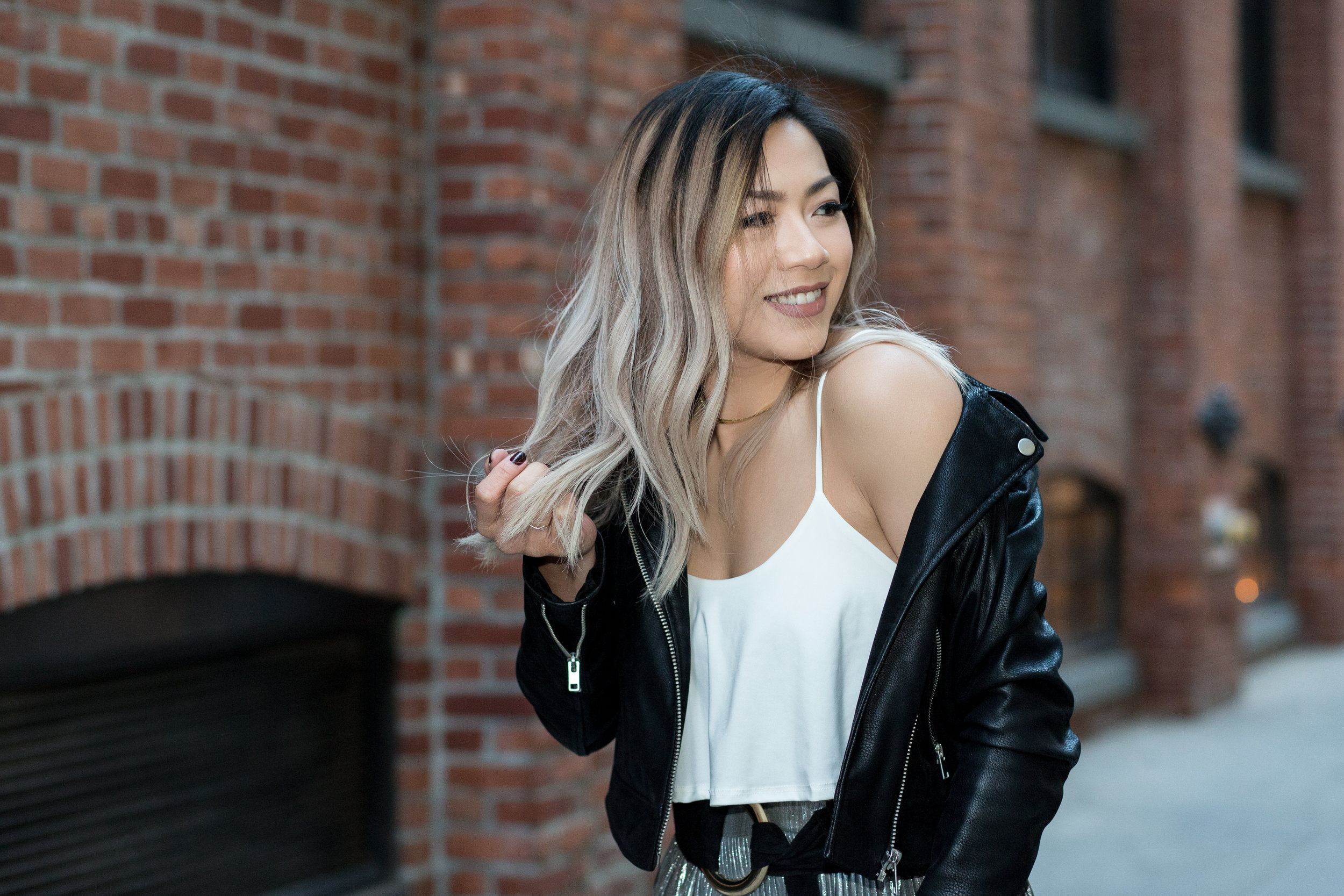 Elva silver Metallic Pleated Midi Skirt,boohoo, moto leather jacket, how to style. holiday outfit ideas, kendal and kylie lace up booties, fall outfit, winter outfit