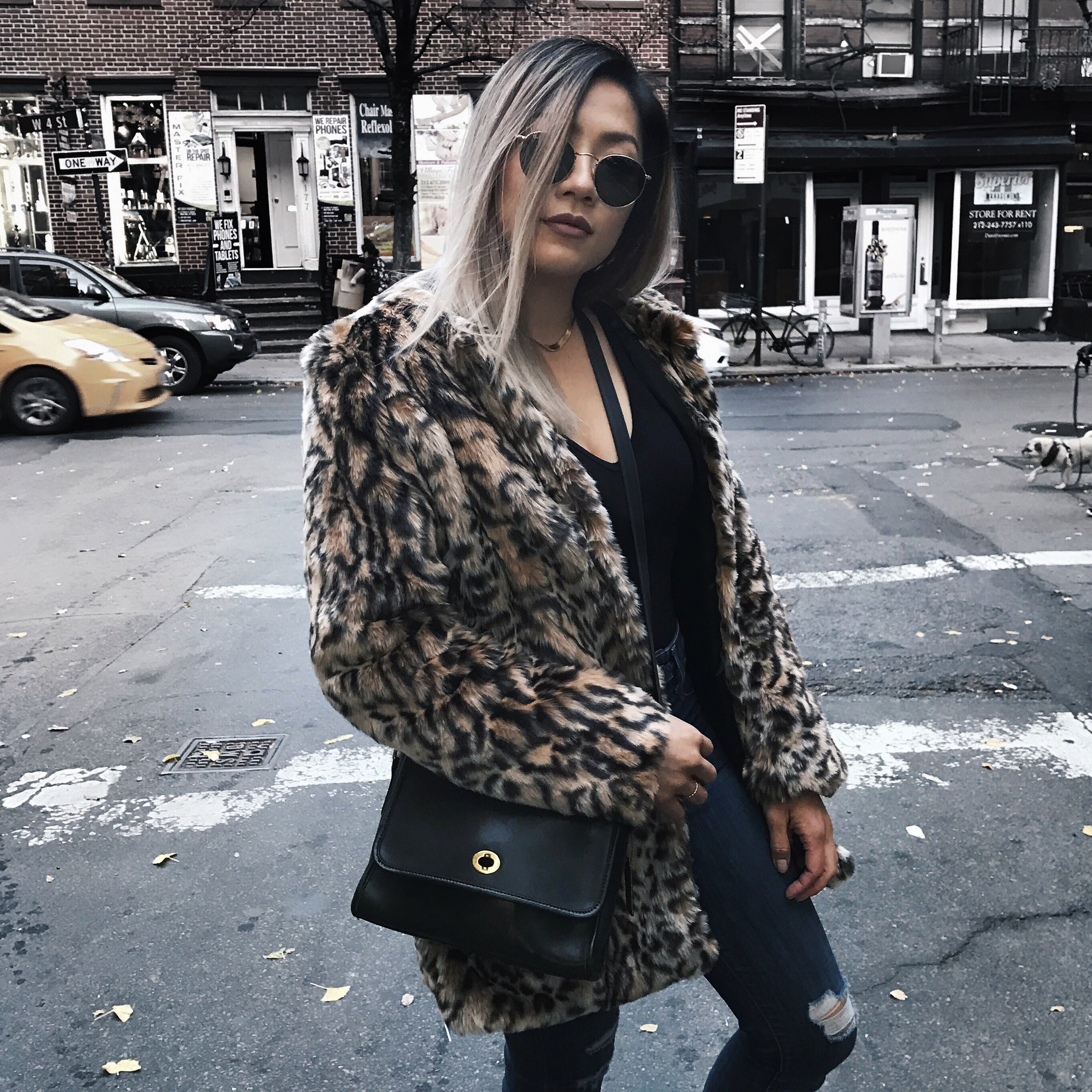 Steve Madden Faux Fur Leopard Print Coat - SHOP THE COAT BELOW  | Purse: Coach Vintage Crossbody Bag -  something similar here