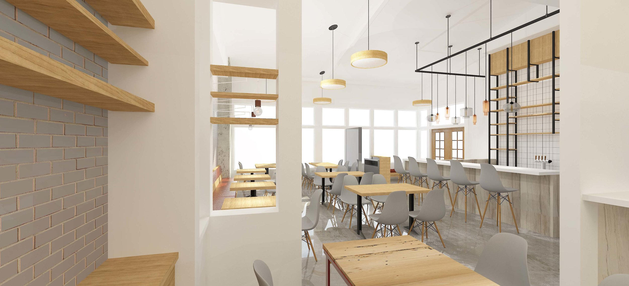 Image from rear of Bricola Restaurant Design Concept