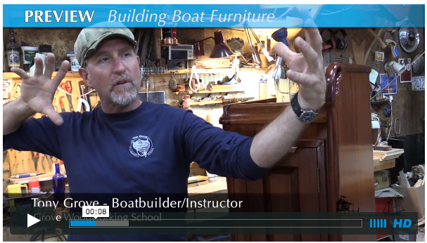 Tony Grove was featured in a video by       Off Center Harbor ,    out of Maine, USA, in September 2015, as he explained the craft of building boat furniture using plywood and cleat construction methods. 1 minute video preview only, unless you opt in to watch the full 15 minute video.
