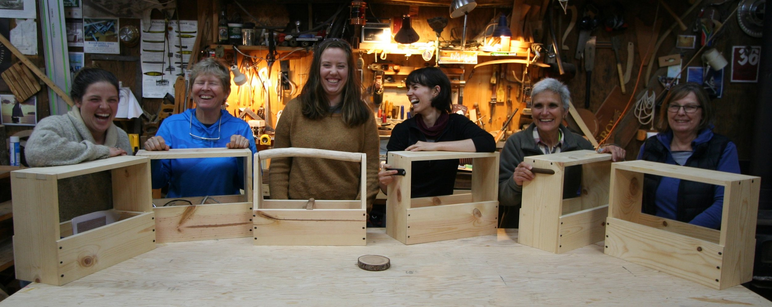 """Intro Woodworking Woman only 2017    """"Tony thank you for the phenomenal course, I learned a lot and appreciated having an all-woman's course. Pace was great and the toolbox will be useful for years to come. You are an exceptionally kind and patient teacher.""""  """"Super dope course!!""""  """"A well-planned and implemented course to """"the world of woodworking"""" the field trip to the sustainably managed forest was very informative """"thanks Mark and Ali"""".  """"I am happy to refer this course to others.""""  """"Thanks for the course and your hospitality"""""""