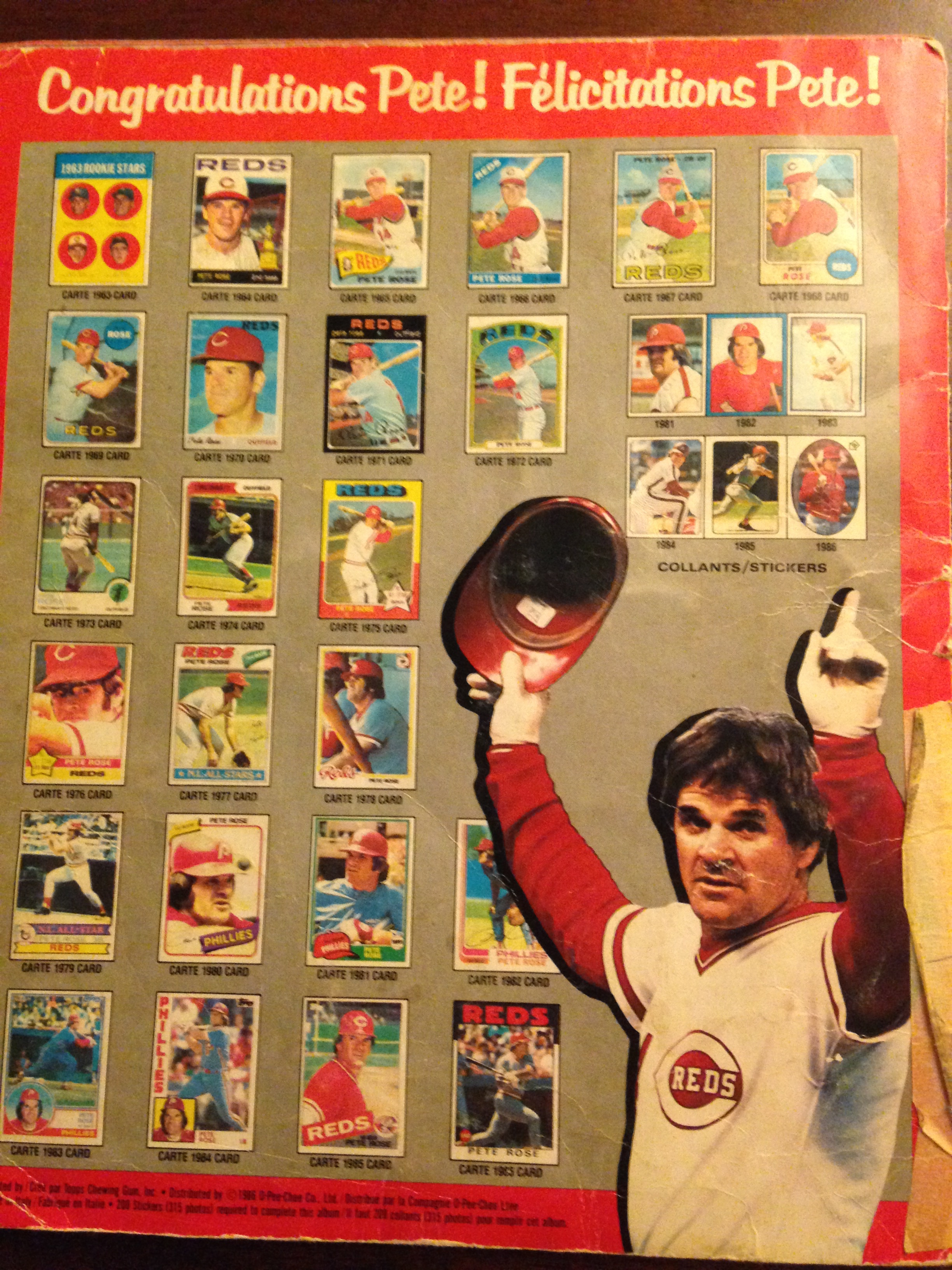 My 1986 Baseball Sticker Yearbook, recapping the 1985 Baseball Season (Back cover)