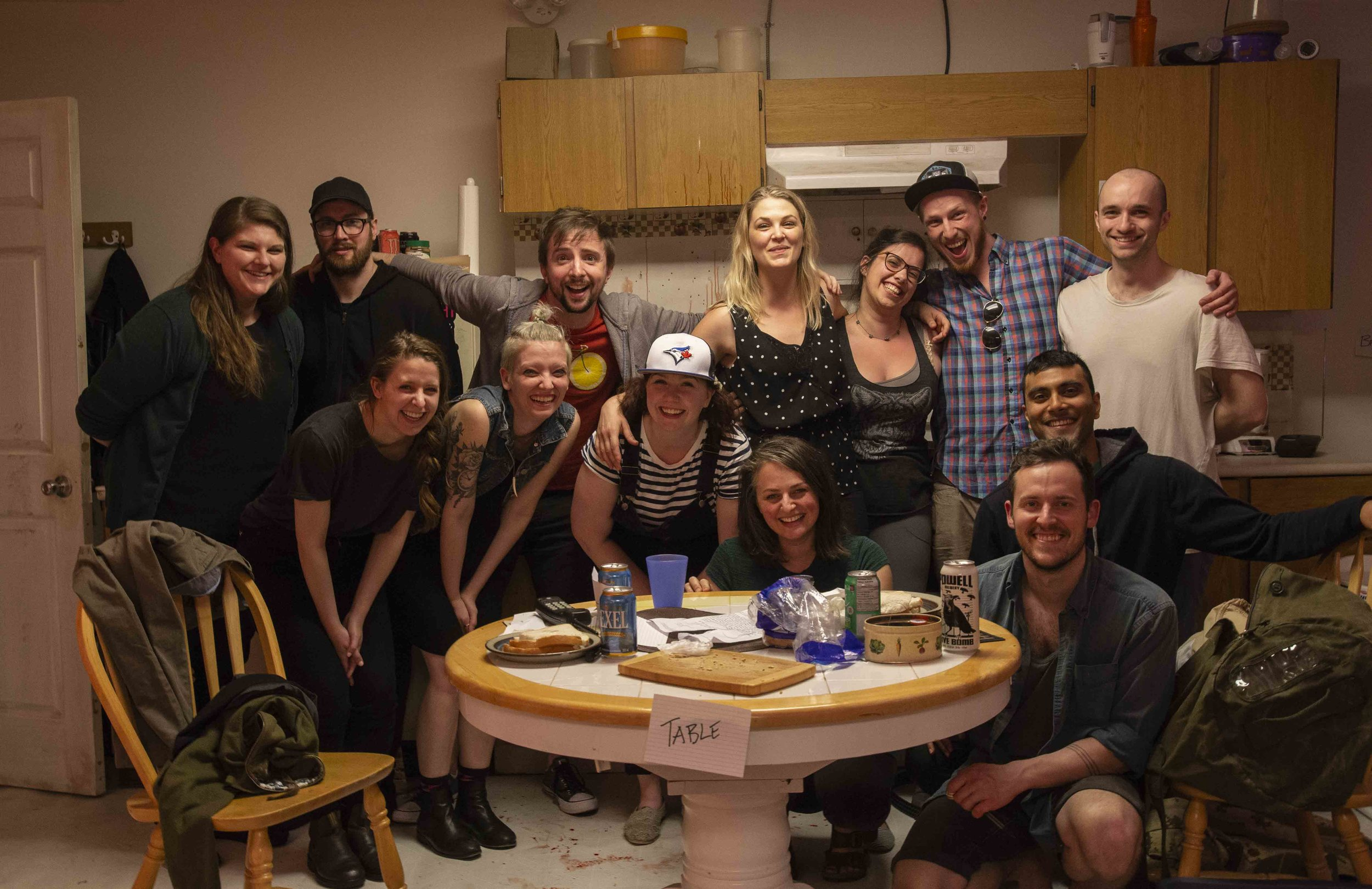 The entire production team behind Wet on its Jessie nominated set. Set design: Jennifer Stewart. Photo: Matt Reznek