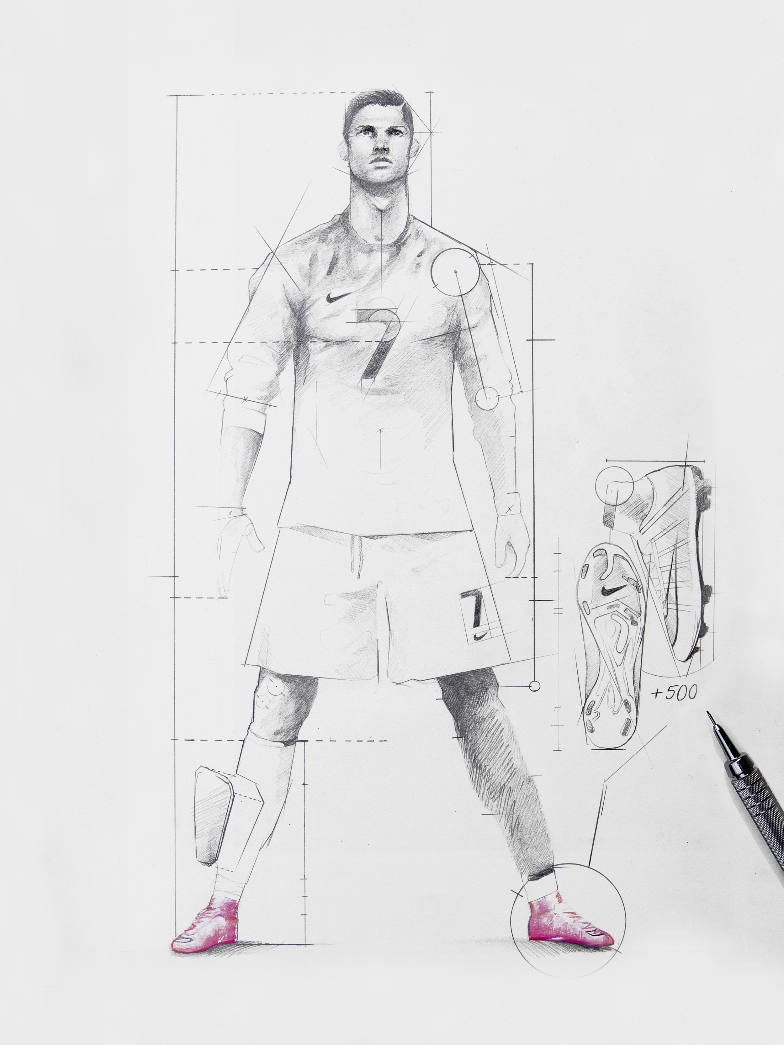 A scoring machine. --- Subject: Ronaldo, Cristiano Equipment: Mercurial Superfly Height: 185 cm Weight: 84 kg Left Foot: +89 Right Foot: +326 Head: +83 Unknown: +2 Total Goals: +500