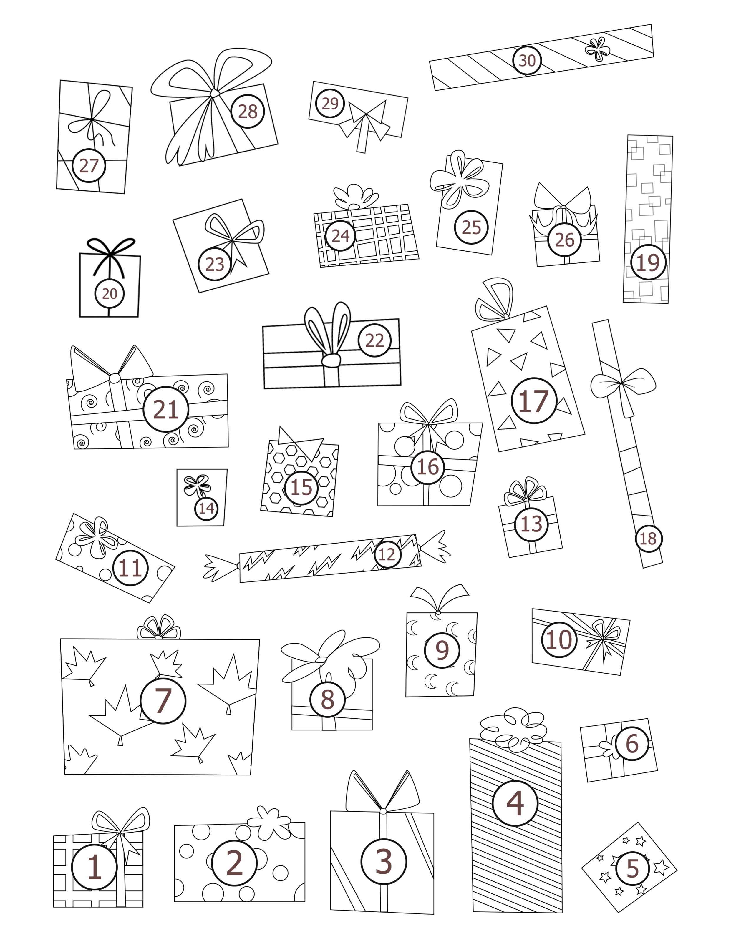 30 presents for 30 Good Deeds. Click image to print.