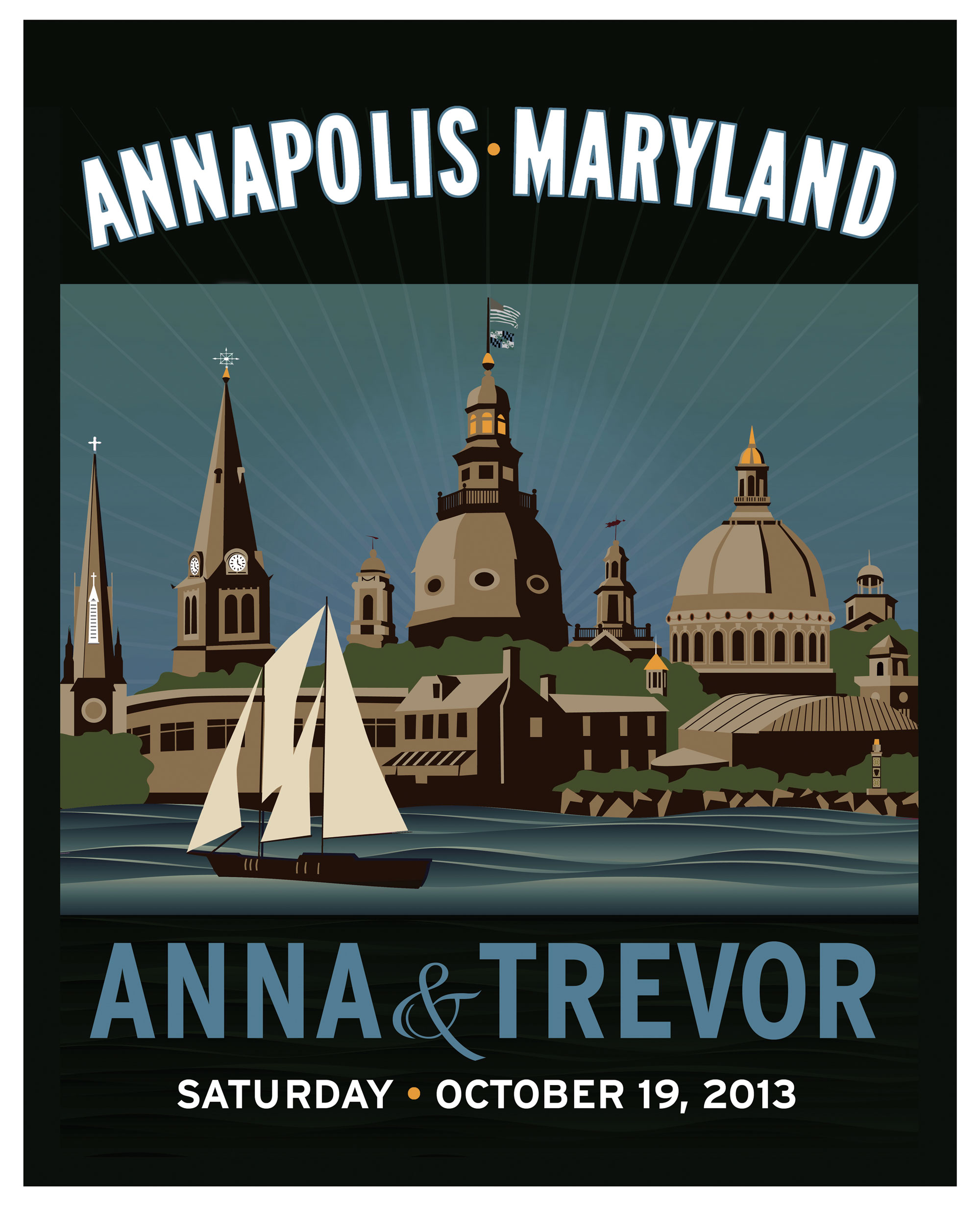 Annapolis Wedding Announcement for Ann and Trevor.
