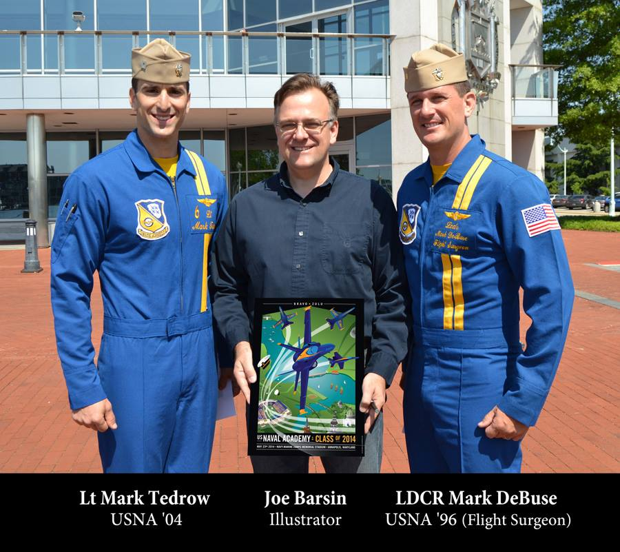 Lt Mark Tedrow, Blue Angel Pilot of #6 (USNA '04), Joe Barsin of CitizenPride.com and LDCR Mark DeBuse, Blue Angels Flight Surgeon (USNA '96) at U.S. Naval Academy, Annapolis, MD on May 19, 2014.