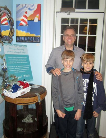 Joe Barsin with his sons, Robby and James, at the Annapolis Museum Store.