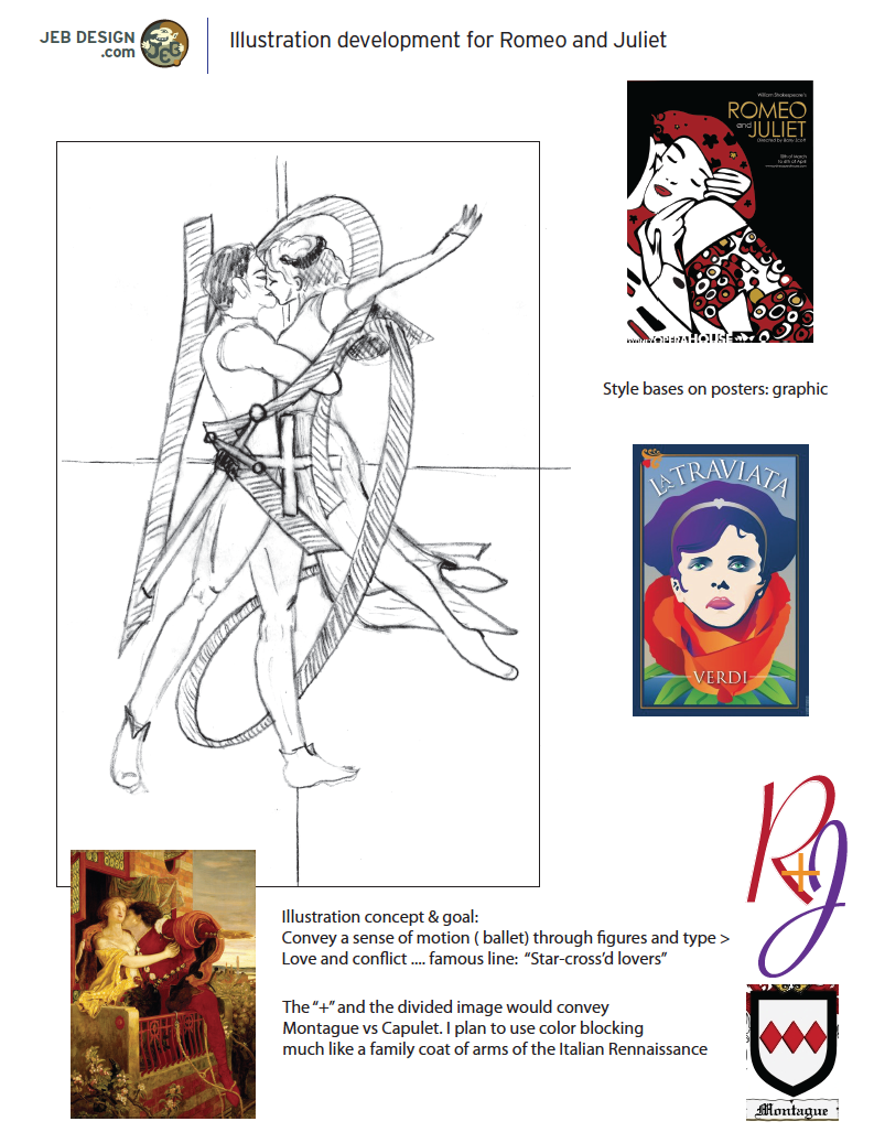 Concept Sketch for romeo and juliet poster by Joe barsin
