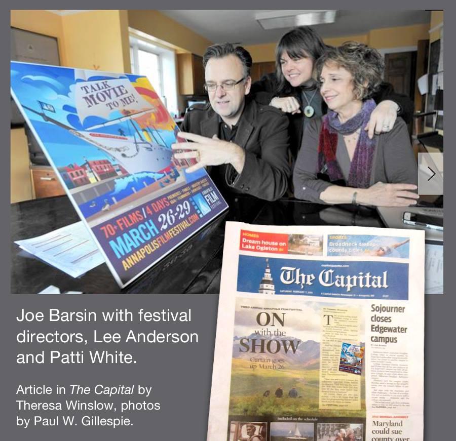 Joe Barsin describing the Film fest posterillustrationwith festival directors, lee anderson and patti white.